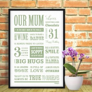 Wallspice Personalised Mum Memory Print :: Capture her Personality Likes And Loves